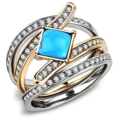 TK3519 - Two-Tone IP Rose Gold Stainless Steel Ring with Synthetic Turquoise in Sea Blue
