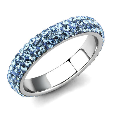 TK3535 - High polished (no plating) Stainless Steel Ring with Top Grade Crystal  in Sea Blue