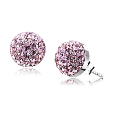TK3554 - High polished (no plating) Stainless Steel Earrings with Top Grade Crystal  in Light Rose