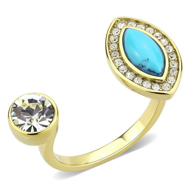TK3592 - IP Gold(Ion Plating) Stainless Steel Ring with Synthetic Turquoise in Turquoise