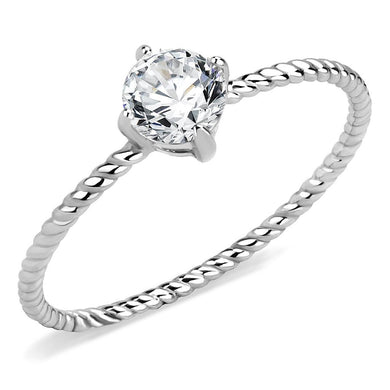 TK3604 - No Plating Stainless Steel Ring with AAA Grade CZ  in Clear