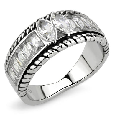 TK3606 - No Plating Stainless Steel Ring with AAA Grade CZ  in Clear