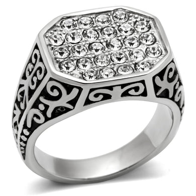 TK362 High polished (no plating) Stainless Steel Ring with Top Grade Crystal in Clear