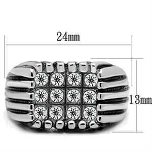 TK363 High polished (no plating) Stainless Steel Ring with Top Grade Crystal in Clear
