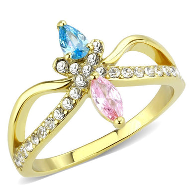 TK3712 IP Gold(Ion Plating) Stainless Steel Ring with AAA Grade CZ in Multi Color