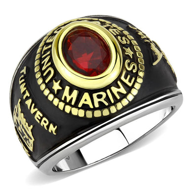 TK3723 - Two-Tone IP Gold (Ion Plating) Stainless Steel Ring with Synthetic Synthetic Glass in Red Series