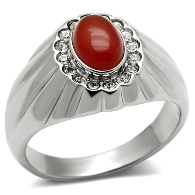 TK372 - High polished (no plating) Stainless Steel Ring with Semi-Precious Onyx in Siam