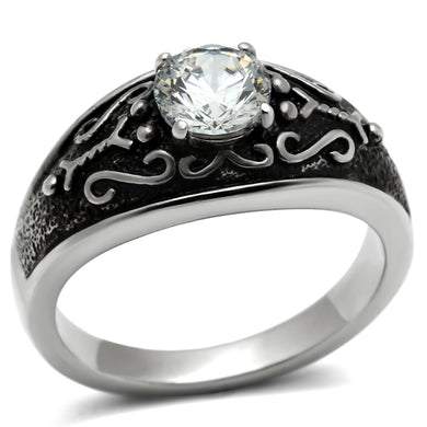 TK373 High polished (no plating) Stainless Steel Ring with AAA Grade CZ in Clear
