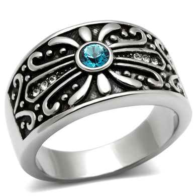 TK377 High polished (no plating) Stainless Steel Ring with Top Grade Crystal in Capri Blue