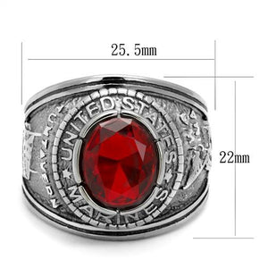 TK414703 - High polished (no plating) Stainless Steel Ring with Synthetic Synthetic Glass in Siam