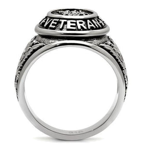TK414704 - High polished (no plating) Stainless Steel Ring with Epoxy  in Jet