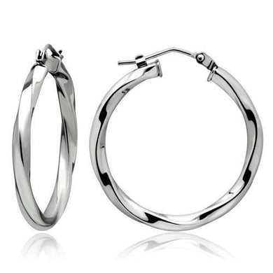 TK428 - High polished (no plating) Stainless Steel Earrings with No Stone