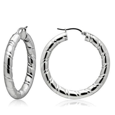 TK431 - High polished (no plating) Stainless Steel Earrings with No Stone