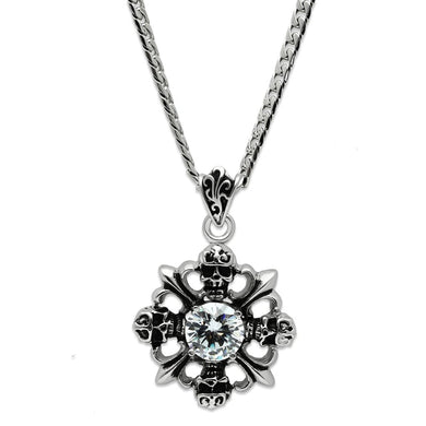 TK454 - High polished (no plating) Stainless Steel Chain Pendant with AAA Grade CZ  in Clear