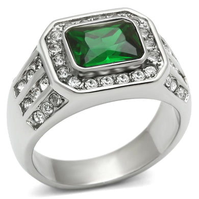 TK495 High polished (no plating) Stainless Steel Ring with Synthetic in Emerald