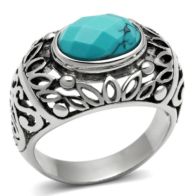 TK498 High polished (no plating) Stainless Steel Ring with Synthetic in Sea Blue