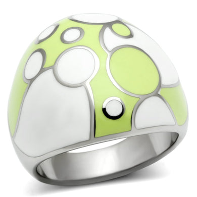TK511 - High polished (no plating) Stainless Steel Ring with Epoxy  in Multi Color