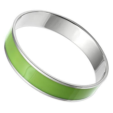TK531 High polished (no plating) Stainless Steel Bangle with Epoxy in Emerald