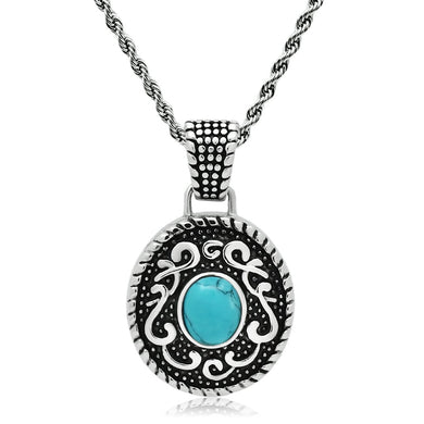 TK550 - High polished (no plating) Stainless Steel Necklace with Synthetic Turquoise in Sea Blue