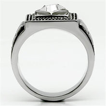 Load image into Gallery viewer, TK589 High polished (no plating) Stainless Steel Ring with Top Grade Crystal in Clear