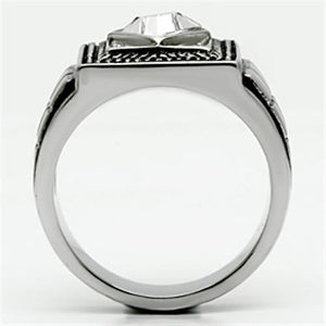 TK589 High polished (no plating) Stainless Steel Ring with Top Grade Crystal in Clear