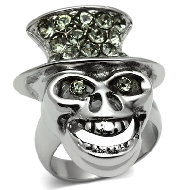 TK605 - High polished (no plating) Stainless Steel Ring with Top Grade Crystal  in Black Diamond