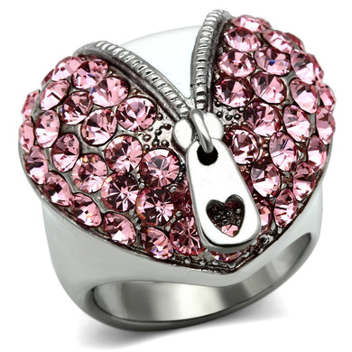 TK652 High polished (no plating) Stainless Steel Ring with Top Grade Crystal in Rose