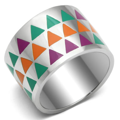 TK675 - High polished (no plating) Stainless Steel Ring with Epoxy  in Multi Color