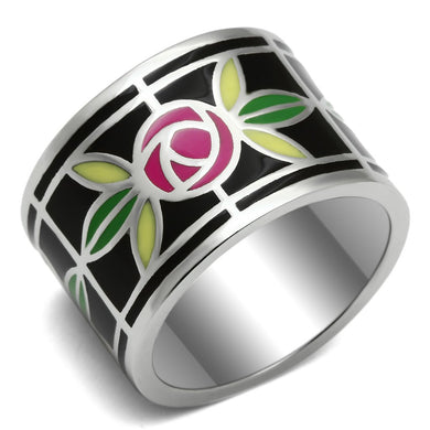TK683 - High polished (no plating) Stainless Steel Ring with Epoxy  in Multi Color