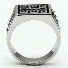 Load image into Gallery viewer, TK703 High polished (no plating) Stainless Steel Ring with Top Grade Crystal in Clear