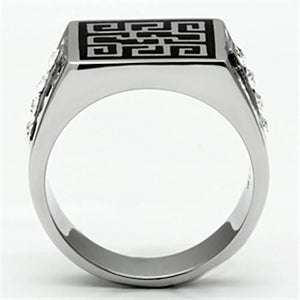 TK703 High polished (no plating) Stainless Steel Ring with Top Grade Crystal in Clear