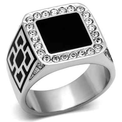 TK713 High polished (no plating) Stainless Steel Ring with Top Grade Crystal in Clear