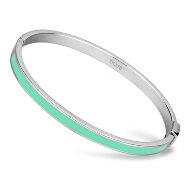 TK743 - High polished (no plating) Stainless Steel Bangle with Epoxy  in Turquoise