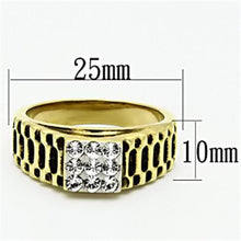 Load image into Gallery viewer, TK753 Two-Tone IP Gold (Ion Plating) Stainless Steel Ring with Top Grade Crystal in Clear