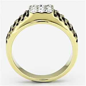 TK753 Two-Tone IP Gold (Ion Plating) Stainless Steel Ring with Top Grade Crystal in Clear