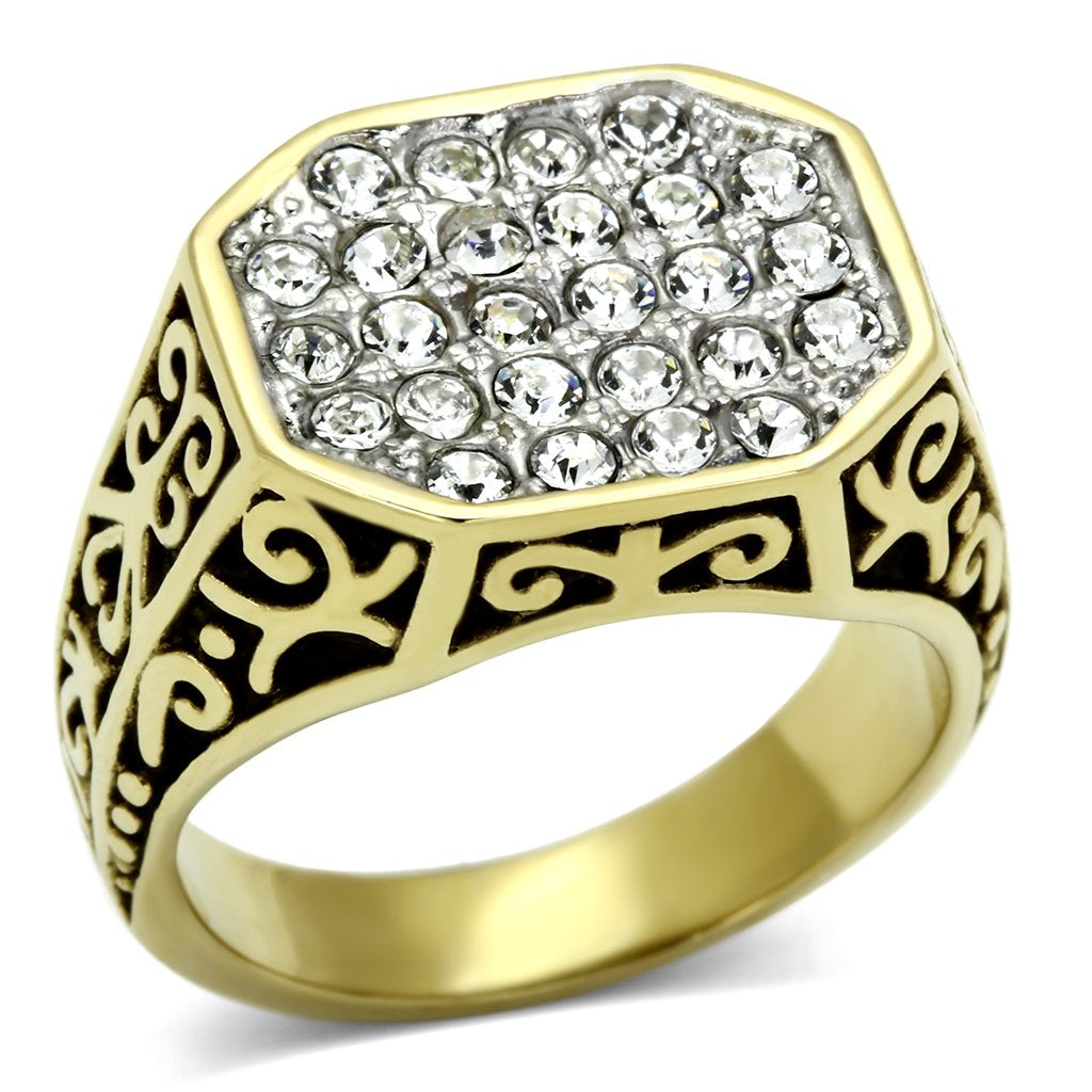TK757 Two-Tone IP Gold (Ion Plating) Stainless Steel Ring with Top Grade Crystal in Clear