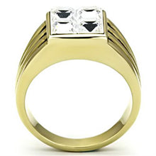 Load image into Gallery viewer, TK769 IP Gold(Ion Plating) Stainless Steel Ring with Top Grade Crystal in Clear