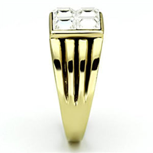 TK769 IP Gold(Ion Plating) Stainless Steel Ring with Top Grade Crystal in Clear
