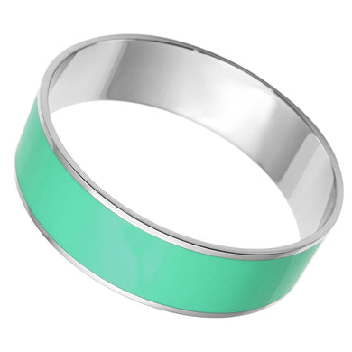 TK786 - High polished (no plating) Stainless Steel Bangle with Epoxy  in Turquoise