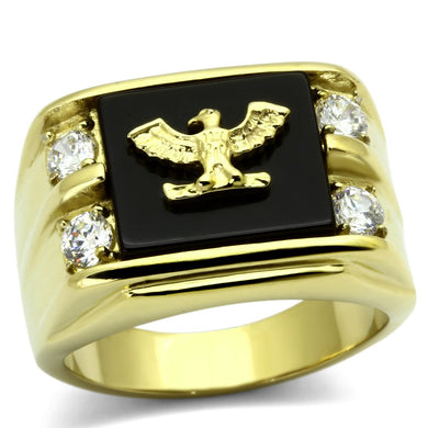 TK793 IP Gold(Ion Plating) Stainless Steel Ring with Semi-Precious in Jet