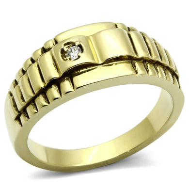 TK794 - IP Gold(Ion Plating) Stainless Steel Ring with AAA Grade CZ  in Clear