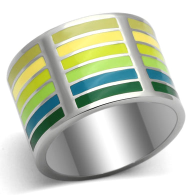 TK819 - High polished (no plating) Stainless Steel Ring with Epoxy  in Multi Color