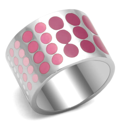 TK820 - High polished (no plating) Stainless Steel Ring with Epoxy  in Multi Color