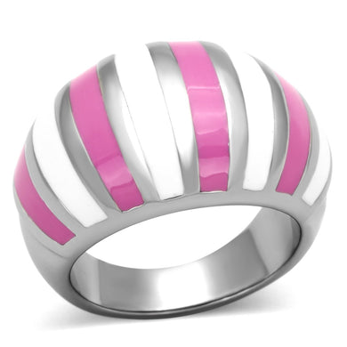 TK828 - High polished (no plating) Stainless Steel Ring with Epoxy  in Multi Color