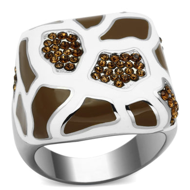 TK847 - High polished (no plating) Stainless Steel Ring with Top Grade Crystal  in Smoked Quartz