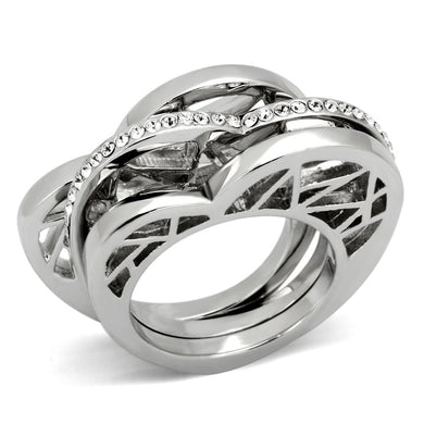TK864 - High polished (no plating) Stainless Steel Ring with Top Grade Crystal  in Clear
