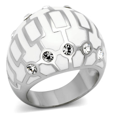 TK871 - High polished (no plating) Stainless Steel Ring with Top Grade Crystal  in Clear