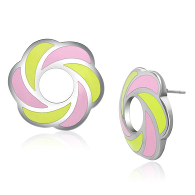 TK904 - High polished (no plating) Stainless Steel Earrings with Epoxy  in Multi Color