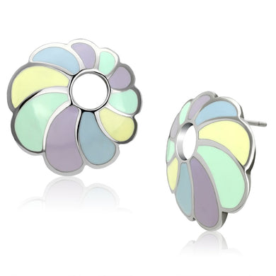 TK905 - High polished (no plating) Stainless Steel Earrings with Epoxy  in Multi Color