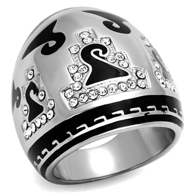 TK928 High polished (no plating) Stainless Steel Ring with Top Grade Crystal in Clear